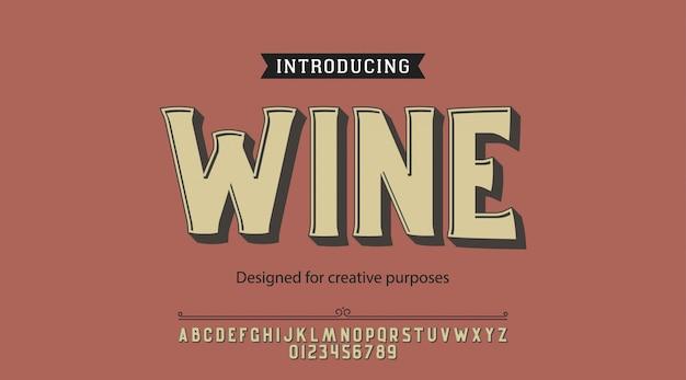 ワインの書体。ラベルおよび種類の異なるデザイン用 Premiumベクター