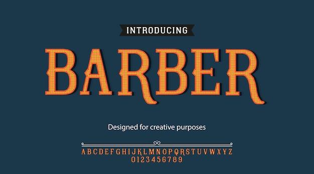 Парикмахерская гарнитура шрифта типография алфавит с буквами и цифрами Premium векторы