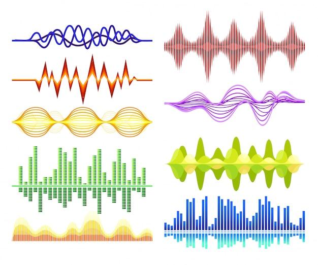 Набор различных абстрактных музыкальных волн. звуковые колебания. цифровой эквалайзер. аудио технологии Premium векторы