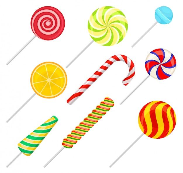 Набор сладких леденцов, красочные конфеты, леденцы иллюстрация Premium векторы