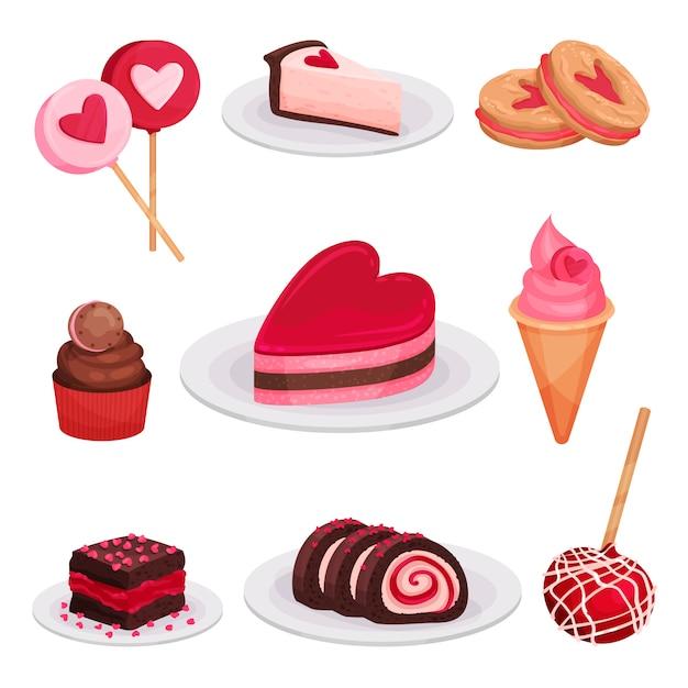 Плоский набор вкусных десертов на день святого валентина. леденцы на палочке, кусочек чизкейка, мороженое, бутербродное печенье Premium векторы