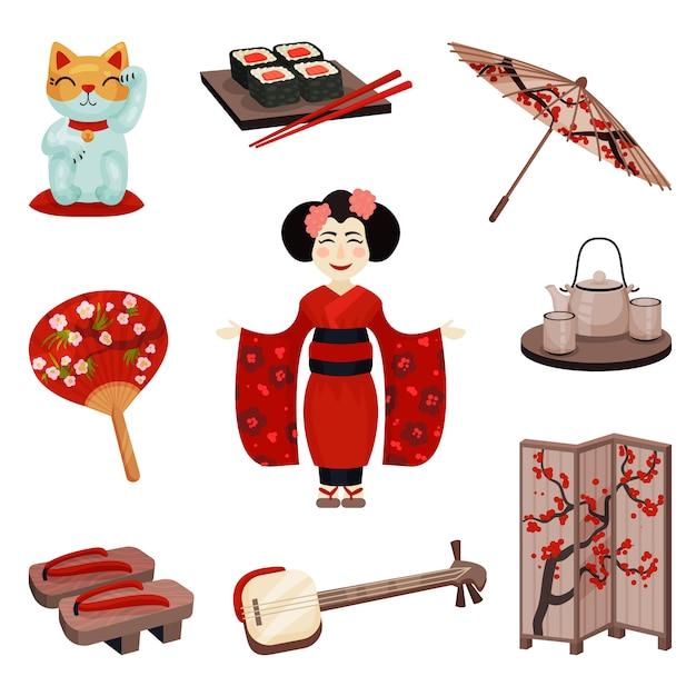 Собрание японских сувениров и аксессуаров. иллюстрация. Premium векторы