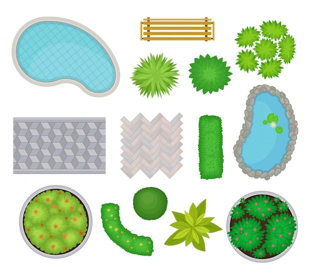 Коллекция для пейзажа. вид сверху. иллюстрации. Premium векторы