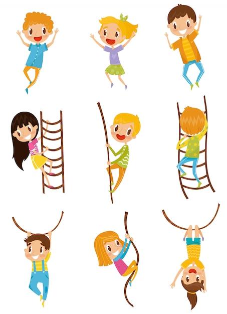 Симпатичные маленькие дети, прыжки, скалолазание и размахивая с набором препятствий веревку, иллюстрации на белом фоне Premium векторы