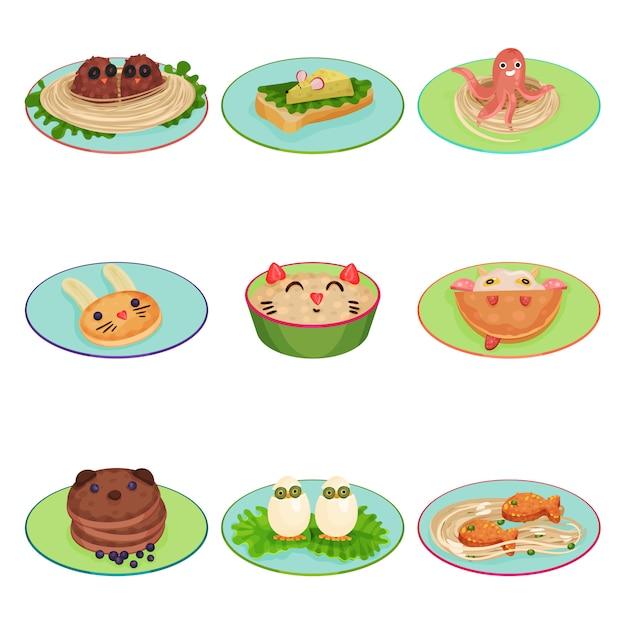 Корм для детей ед в виде животных и набор птиц иллюстрации на белом фоне Premium векторы