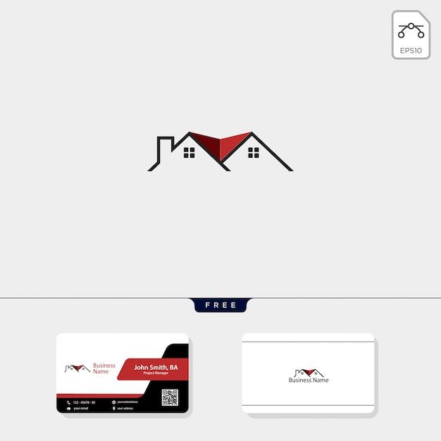 不動産ロゴと無料の名刺デザイン Premiumベクター