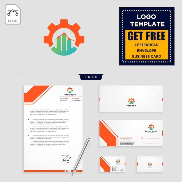 ギア、およびビジネスチャートのロゴテンプレートと文房具の設計 Premiumベクター