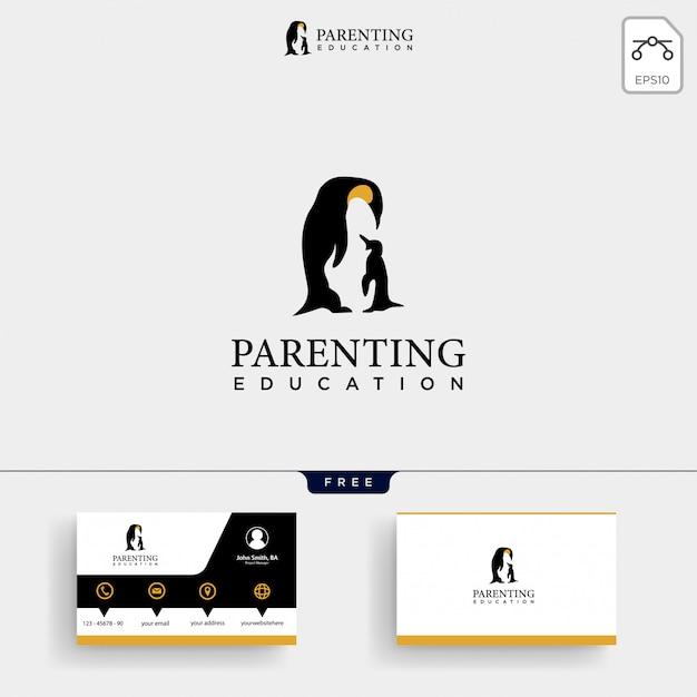Любовь и воспитание детей шаблон логотипа и визитки Premium векторы