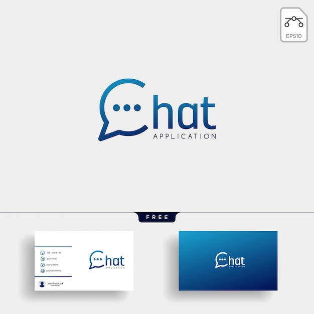 チャット、メッセージ、スピーチ、会話のロゴのテンプレート名刺 Premiumベクター