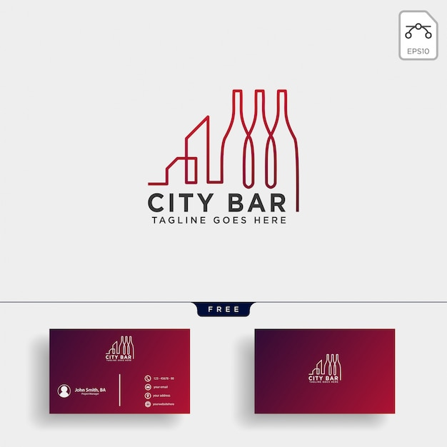 Городской бар, пить клуб творческий логотип шаблон векторные иллюстрации Premium векторы