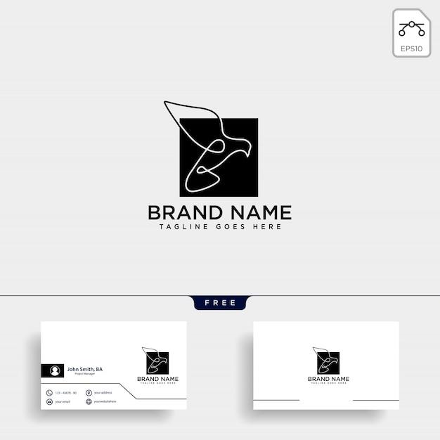 フライングハミングバードラインアートのロゴ Premiumベクター