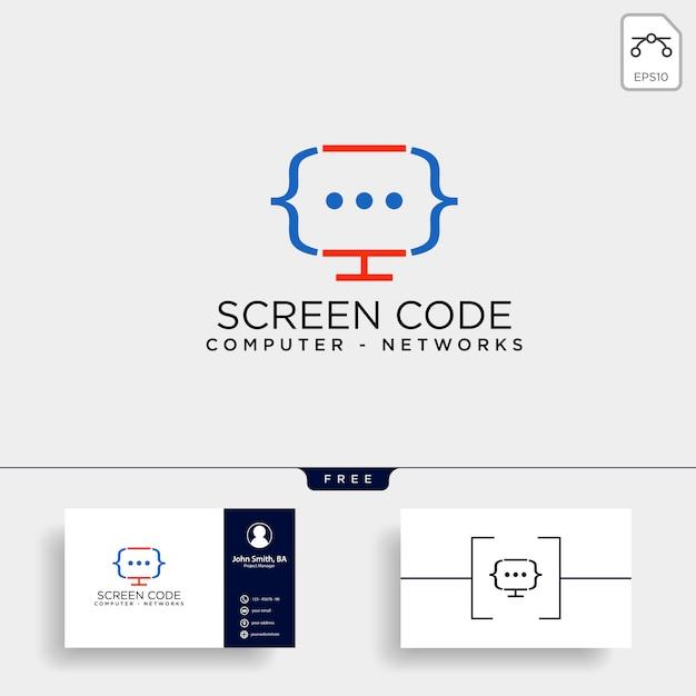 コードプログラミングのロゴのテンプレートベクトル図 Premiumベクター