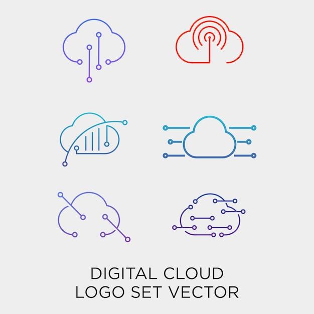 クラウドデジタル技術ラインセットのロゴのテンプレート Premiumベクター