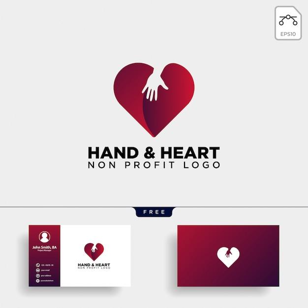 愛のケアは心のロゴを与える Premiumベクター