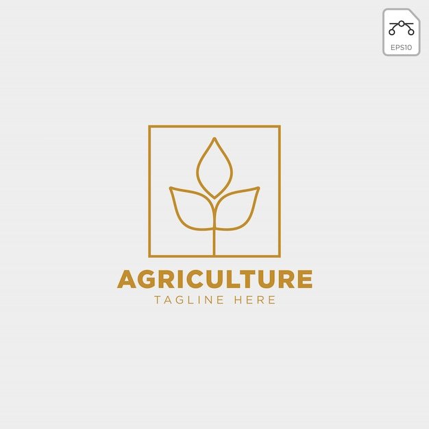 ゴールド農業ファームラインバッジビンテージロゴ Premiumベクター