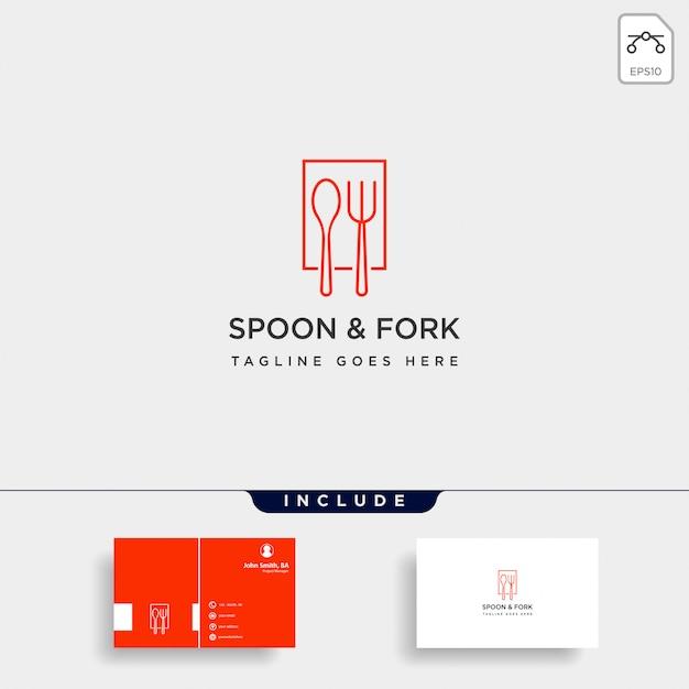 食品機器のスプーンフォークのロゴのテンプレートイラストアイコン要素 Premiumベクター