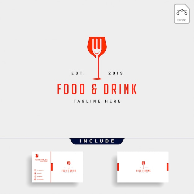 食べ物や飲み物のシンプルなフラットロゴイラストアイコン要素 Premiumベクター