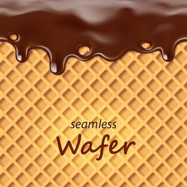 シームレスなウェーハとチョコレートを繰り返し滴下する Premiumベクター