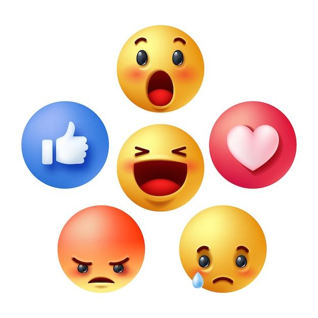 ソーシャルメディア反応絵文字のセット Premiumベクター