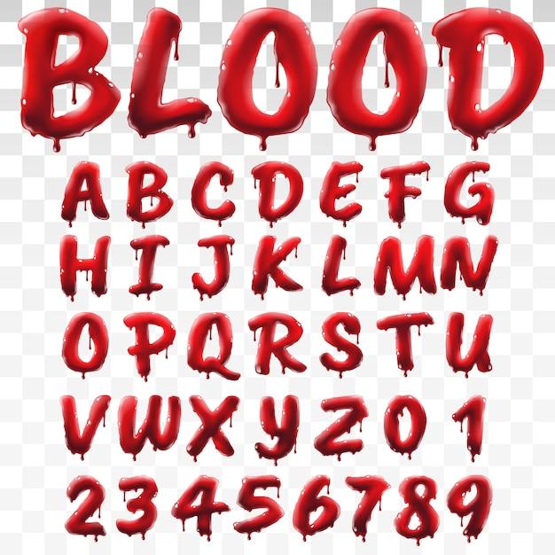 Прозрачный кровавый алфавит, изолированных на прозрачном фоне Premium векторы
