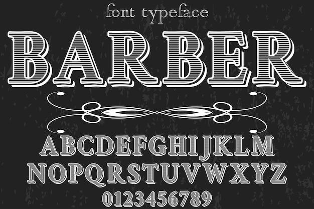 Старинный алфавит дизайн шрифта парикмахер Premium векторы