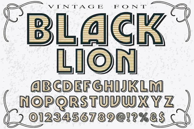 ビンテージレタリンググラフィックスタイルブラックライオン Premiumベクター