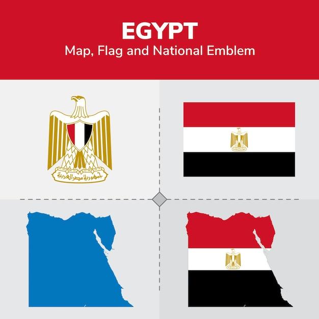エジプト地図、国旗 Premiumベクター
