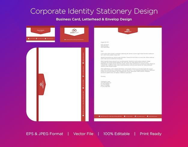 Профессиональный дизайн визитной карточки, бланков и конвертов Premium векторы