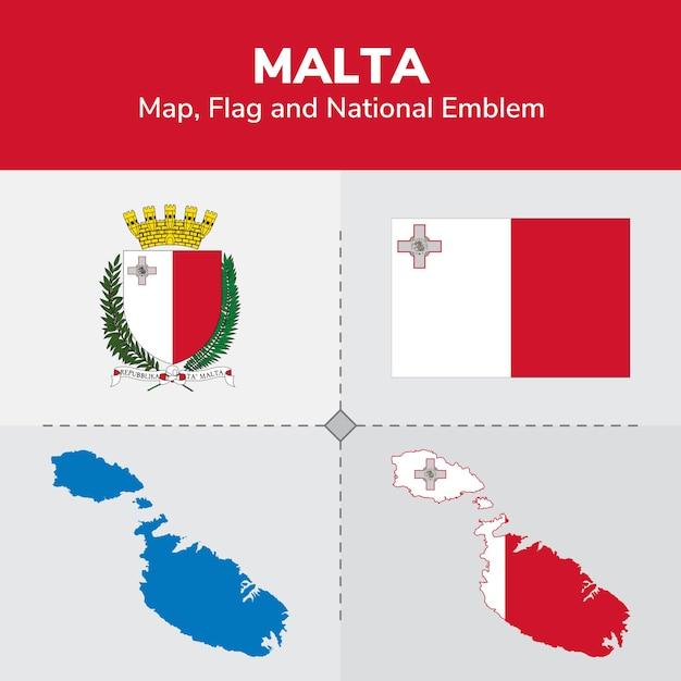 Карта мальты, флаг и национальный герб Premium векторы