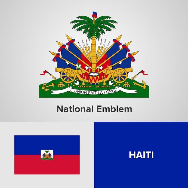 Государственный герб и флаг гаити Premium векторы