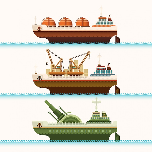 船のセット Premiumベクター