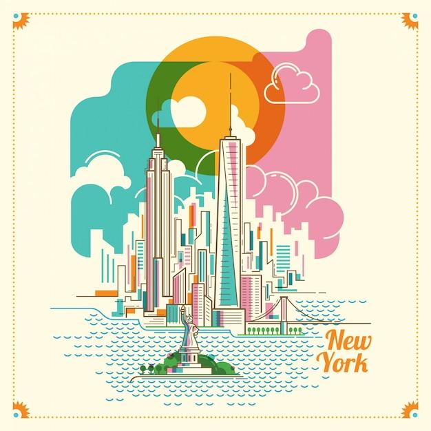 Нью-йоркская пейзажная иллюстрация Premium векторы