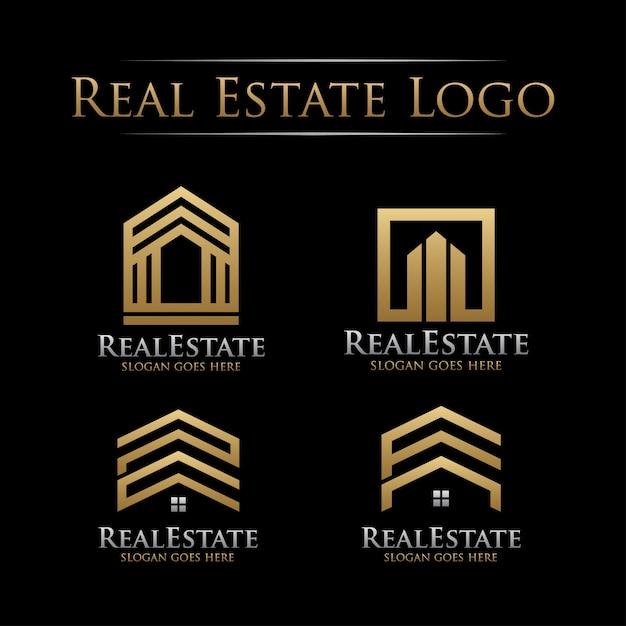 Набор золотого логотипа недвижимости Premium векторы