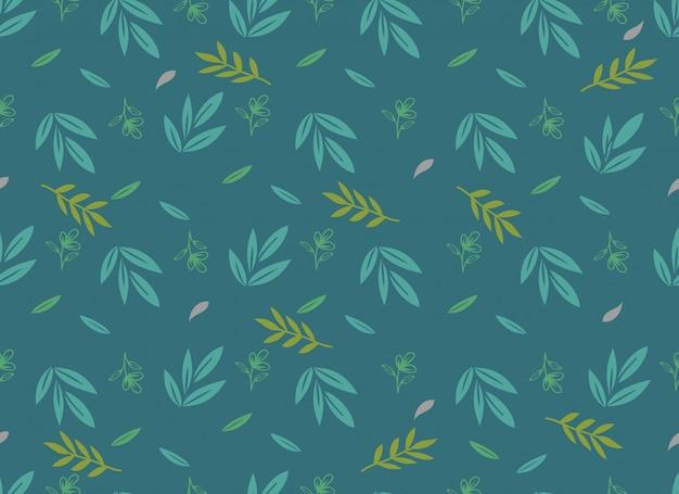 Тропические листья бесшовные модели, весенний цветок. Premium векторы
