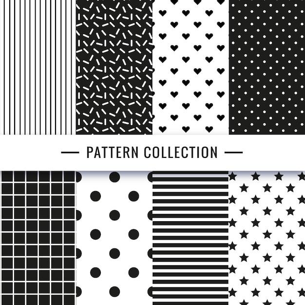 黒と白のシームレスなパターンのコレクション 無料ベクター