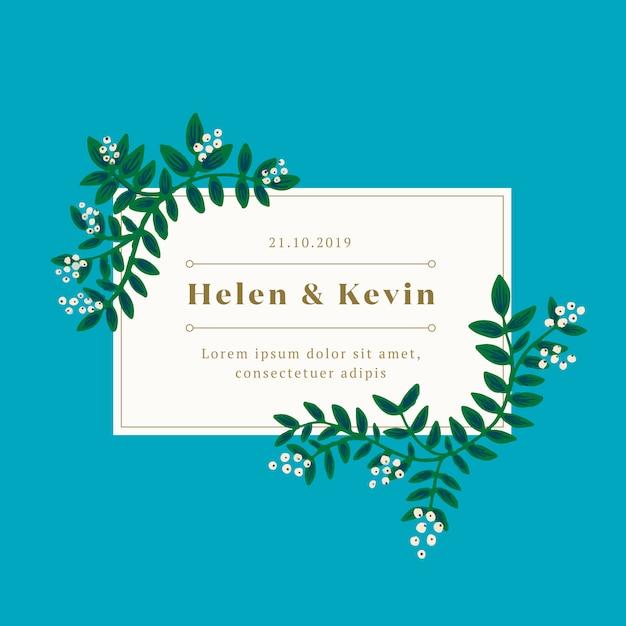 緑の葉の結婚式の招待状 無料ベクター
