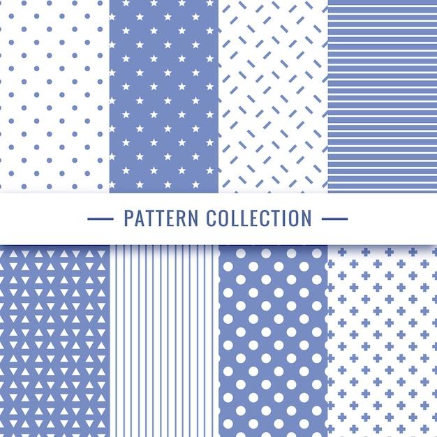 青色の幾何学模様のシームレスなパターンのコレクション 無料ベクター