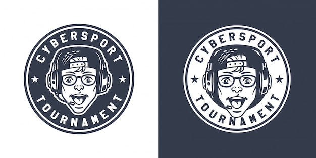 Урожай монохромный игровой круглый логотип Бесплатные векторы