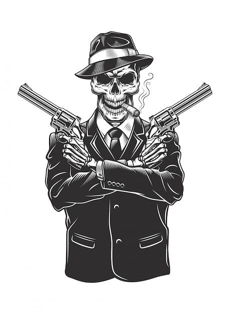 Скелет гангстера с револьверами Бесплатные векторы