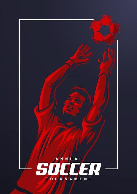 Футбольный вратарь постер Бесплатные векторы