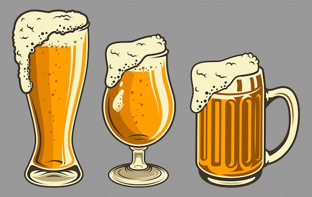 ビンテージスタイルの泡とビールジョッキ 無料ベクター