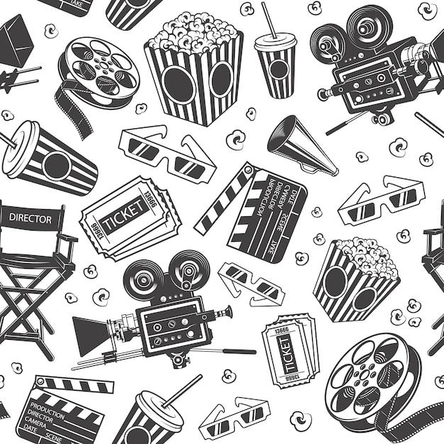 映画の要素を持つシームレスパターン 無料ベクター