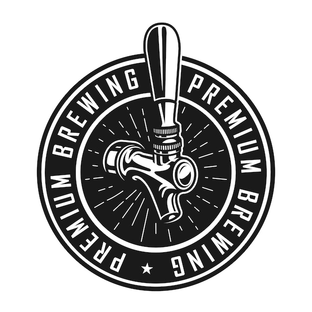 Винтажная премиум пивоваренная этикетка Бесплатные векторы