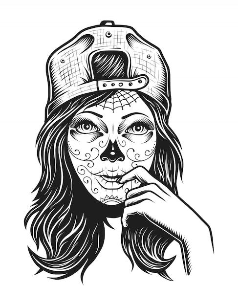 Концепция винтажной мертвой девушки Бесплатные векторы
