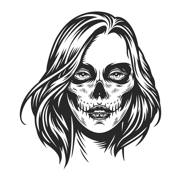 День мертвых макияжа лица девушки Бесплатные векторы