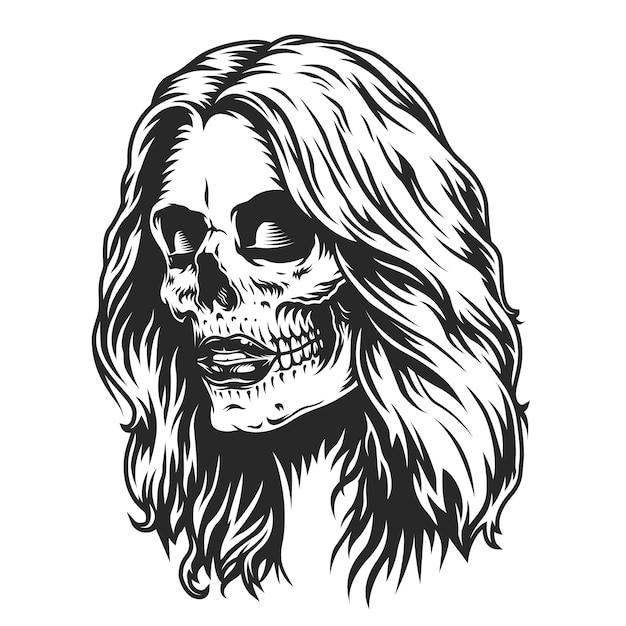 День мертвых макияжа головы девушки Бесплатные векторы