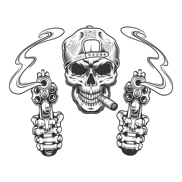 Старинный монохромный гангстерский череп в кепке Бесплатные векторы