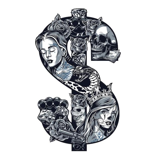 Винтажная татуировка в стиле чикано Бесплатные векторы