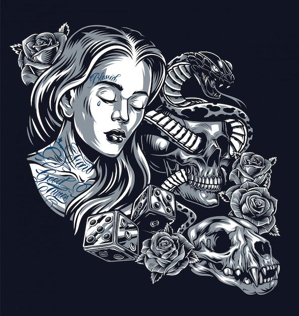 Винтажная концепция татуировки в стиле чикано Бесплатные векторы