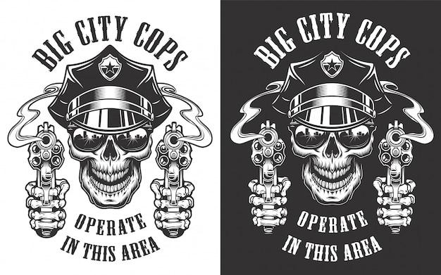 Старинные полицейские монохромные этикетки со скрещенными дубинками и черепом в шляпе полицейского иллюстрации Бесплатные векторы